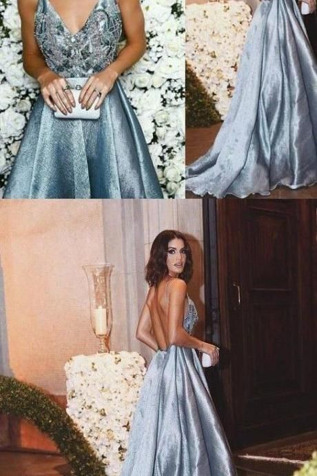 Luxurious Prom Dress, A-Line Prom Dresses,Spaghetti Straps Prom Gown,Blue Long Prom Dress D30093