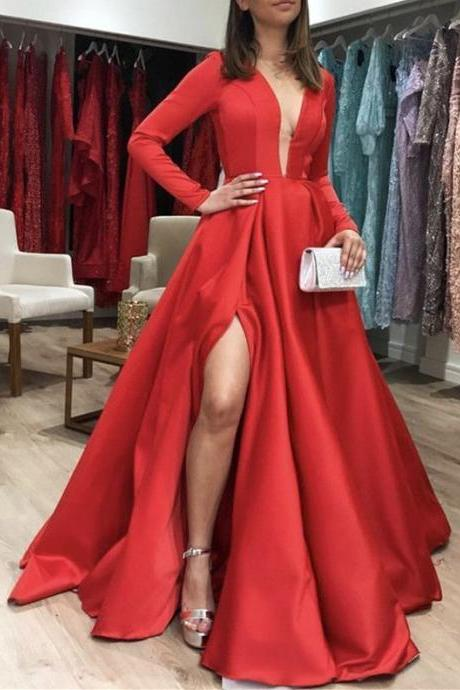 Long Sleeves Satin Prom Dresses Leg Slit Evening Gown