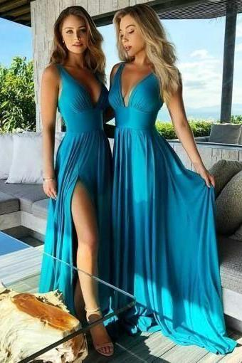 Teal V Neck Side-Slit Cheap Long Bridesmaid Dresses Online