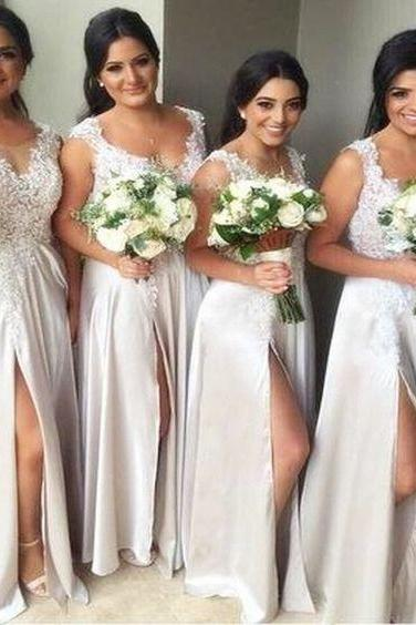 Newest A-line Floor-length Sexy Lace Appliques High Front Split bridesmaid dresses