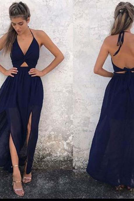 Dark blue long prom dress, sexy v-neck slit simple evening dress from Sweetheart Dress