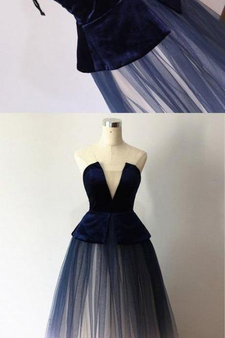 Navy Blue Velvet Strapless Long prom Dress, Long Tulle Formal Evening Dress
