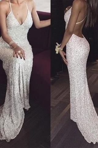 White sequin mermaid long prom dress for teens, sequin evening dress