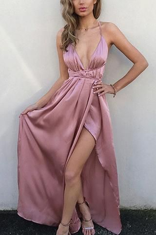 Simple Pink V Neck Spaghetti Straps Long Prom Dress with Slit