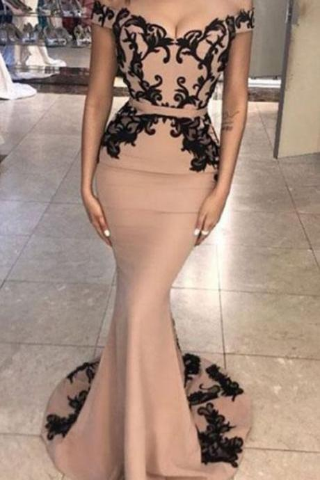 Modern Mermaid Prom Dress,Off-the-Shoulder Prom Dresses,Satin Long Prom Dresses,Evening Dress