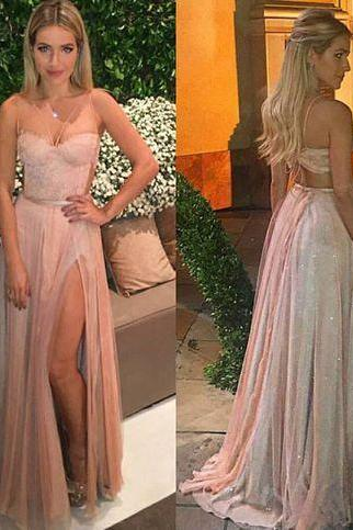 Stylish tulle lace long prom dress,evening dresses