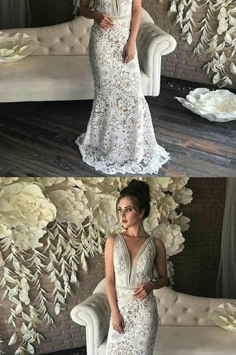 Mermaid Deep V-Neck Sleeveless Cheap Modest Full Lace Prom Dresses, Simple Beach Wedding Dresses