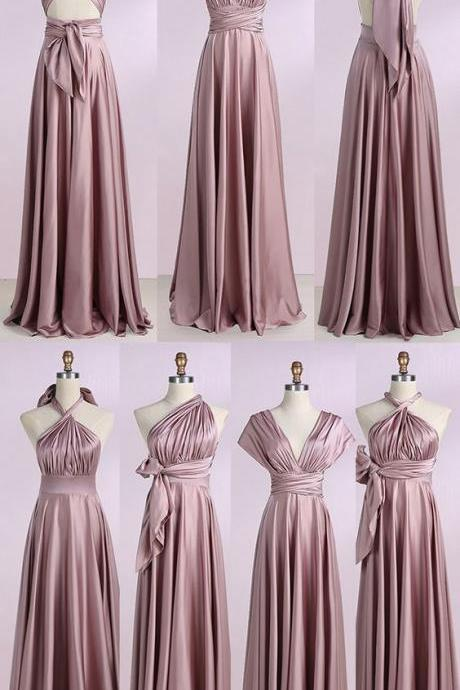 A-Line V-Neck ,Blush Stretch Satin, Convertible Prom Bridesmaid Dress ,Formal Evening Dress,Custom Made