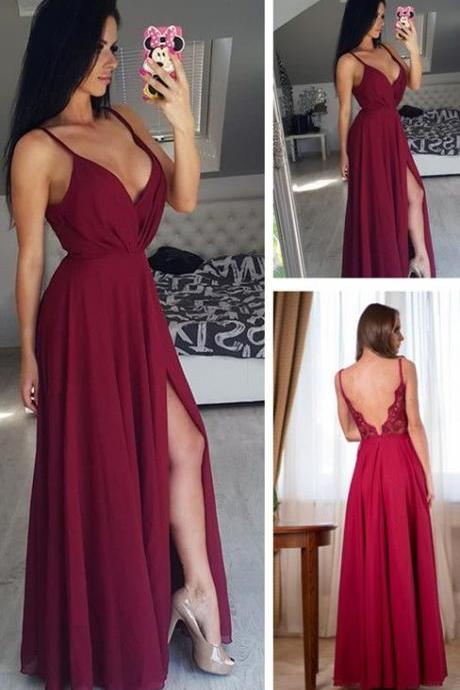 Simply Elegant Straps Burgundy Long Chiffon Prom Dress with Side Slit
