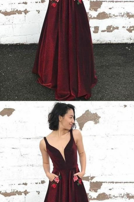 Elegant V-Neck Long Prom Dresses Sleeveless A-Line Evening Formal Dresses