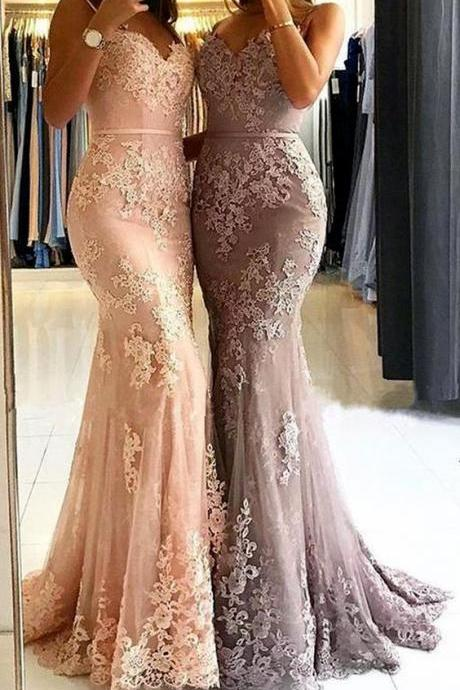 Mermaid Spaghetti Straps Lace Long Prom Dress Pink Formal Evening Gown