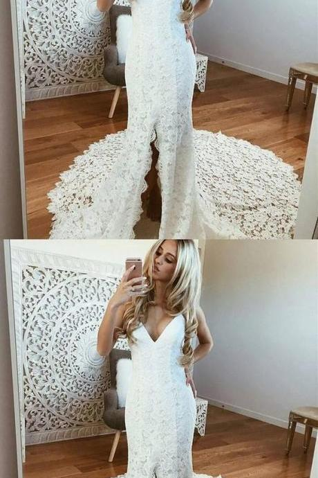 Sheath Spaghetti Straps Sleeveless White Lace Wedding Dress with Split