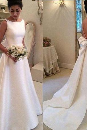 New Length Satin Backless with Bowknot Wedding Dresses Elegant Vintage Women Wedding Gown