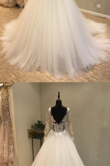 Long Sleeves Popular Applique Tulle Long Cheap Bridal Wedding Dress