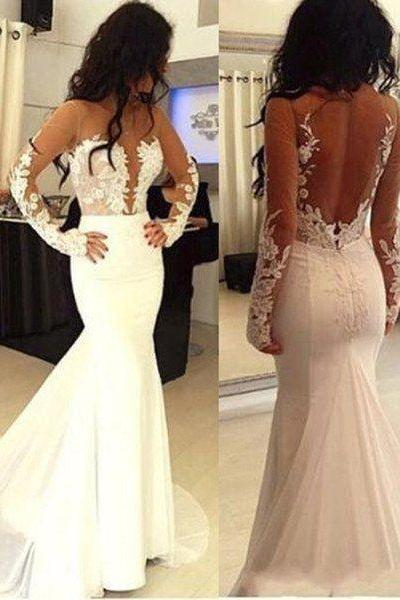 Sexy Mermaid Prom Dresses,Hot Sale Prom Dress,Mermaid Prom Dress,Open Back Wedding Dress,Long Sleeve Wedding Gowns,Formal Dress