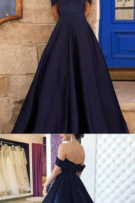 Navy Off Shoulder A-line Beaded Prom Dresses