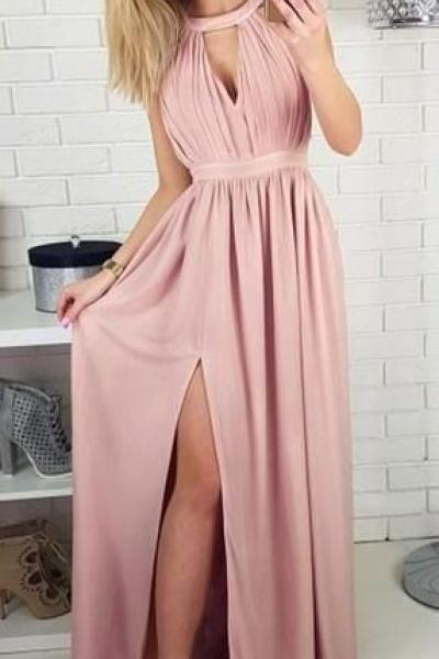 Dusty Pink Long A-line Side Slit Prom Dresses Bridesmaid Dresses