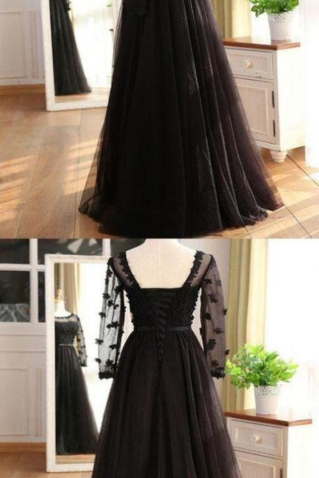 A-Line Black Tulle Long Sleeves Prom Dresses Online