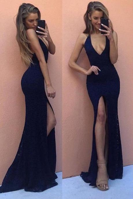 Dark Navy Lace Prom Dresses Front Split V-Neck Sexy Evening Gowns
