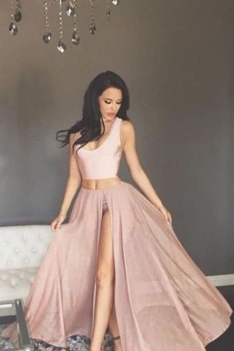 Two Piece Scoop Blush Long Chiffon Prom Dress with Split