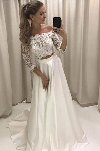 off shoulder two pieces white lace sleeves long prom dress,