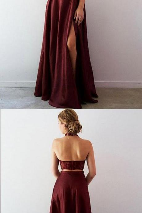Two Piece Prom Dresses Halter Lace Burgundy Taffeta Long Slit Prom Dress