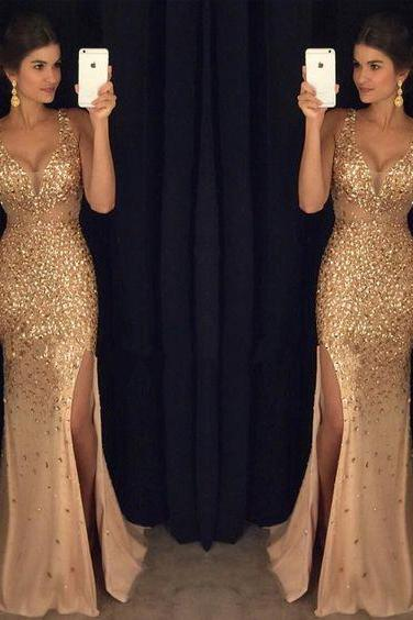 2017 Gold Rhinestone Sparkle Sexy Side Slit Long Mermaid Prom Dresses
