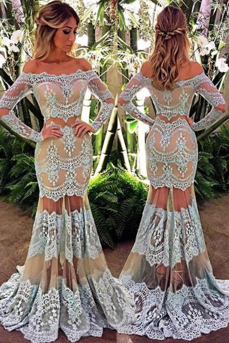 New Arrival Prom Dress,lace prom dresses,Elegant Off the Shoulder Long Sleeves Floor-Length Turquoise Lace Prom Dress