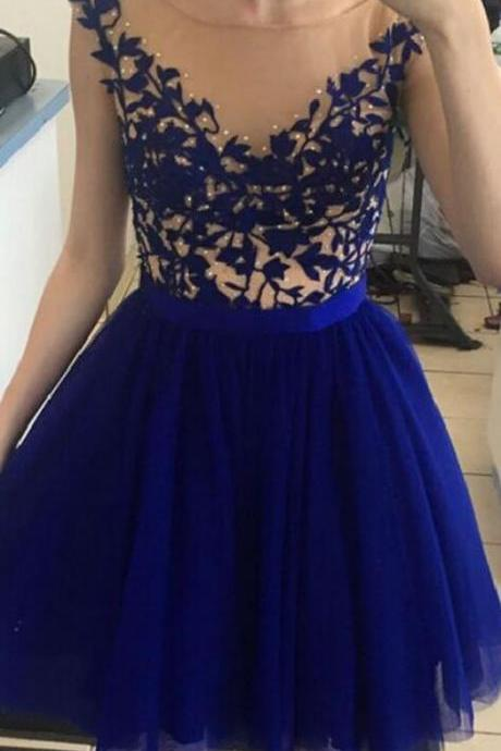 Royal Blue Lace Champagne Tulle Homecoming Dresses Prom Dress,High Neck Cap Sleeves Homecoming Dress Ball Gowns