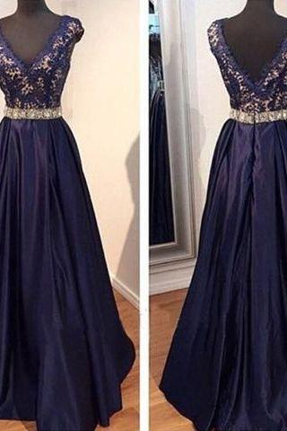 Navy BlueProm Dresses,V neckline Prom Dress,Sexy Prom Dress,Dark Navy Prom Dresses