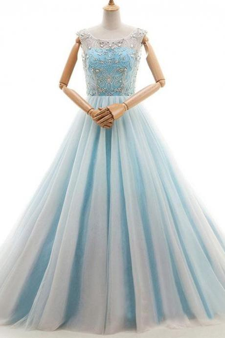 A-line Prom dresses,Light Blue Prom Dresses,Tulle Lace-up Homecoming Dress with Beading