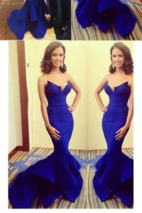 Mermaid Prom Dresses,Royal Blue Prom Dress,Strapless Floor Length Prom Dress,Sexy Long Prom Dress