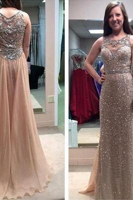 gold sequin prom dresses, see through prom dress, sparkly prom dress, long prom dress