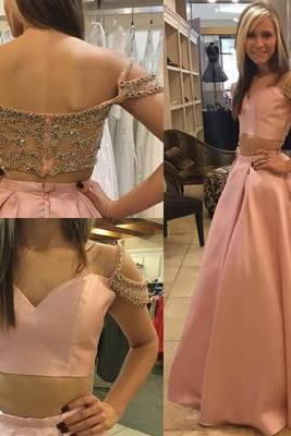 Elegant Two-Piece A-Line Pink Floor-Length Prom Dress with Beading