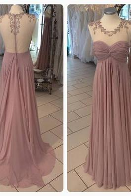 Charming Round Neck Peral Pink Open Back Floor Length Prom Dress
