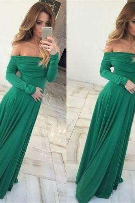 Sexy Off Shoulder Sheath Green Long Prom/Evening Dress
