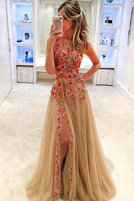 Champagne Prom Evening Dress, Jewel Sleeveless, Appliques Sweep Train Split Prom Dress
