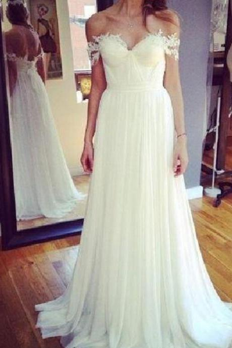Simple Off the Shoulder Backless Floor Length Wedding Dress with Appliques
