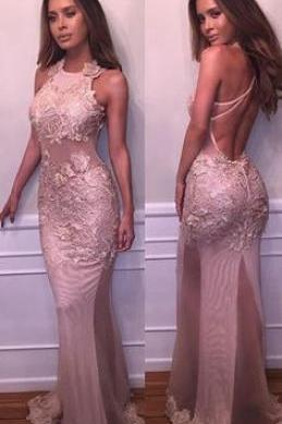 2017 Sheer Mermaid Prom Dresses Lace Appliques Backless Sexy Evening Gowns