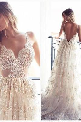 Romantic A-line Strapless Long Lace Wedding Dress,Bridal Dress