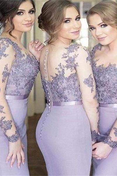 2017 Long Sleeves Mermaid Scoop Lilac Custom Bridesmaid Dresses , Wedding Party Dresses