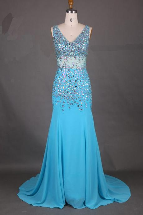 Elegant V-Neck, Mermaid Court Train Prom Dress,Chiffon Prom Dresses With Beading,Zipper Back Evening Dress