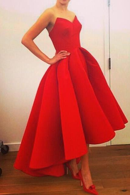 Short red prom dress, Vintage prom dress, red prom dresses