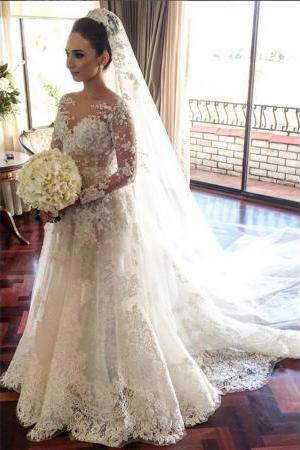 Classic Lace A Line Wedding Dress 2017 Long Sleeve with Flowers Custom Made Wedding Gowns