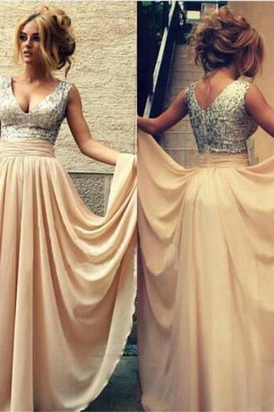 Long Champagne Sparkly V-neck Charming Evening Party Online Prom Dress