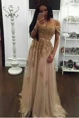 Appliques Long A-line Off-the-Shoulder Evening Dresses 2017 Gold Sexy Prom Gown
