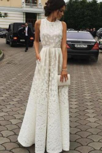 Ivory Charming Prom Dress,Long Prom Dress,Sleeveless Jewel Evening Dress