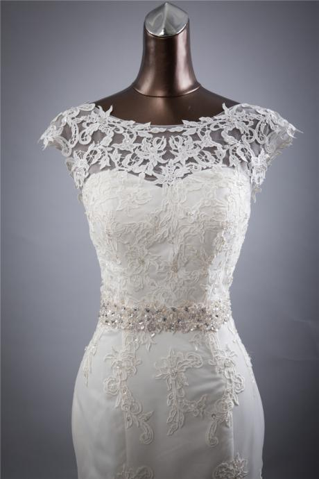 Sexy Mermaid Cap Shoulder Applique Beaded Lace Edge Bowknot Sash Long Train Wedding Bridal Gown Wedding Dress