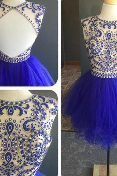 Blue Homecoming Dresses, Homecoming Gowns,Beading Cystals Cocktail Dress, Mini Short Cocktail Gowns