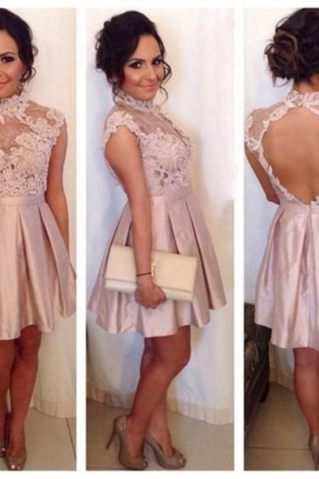 Pastel Pink High Neck Illusion Lace Bodice Short Cocktail Dress With Keyhole Back 2017 New Hot Sell